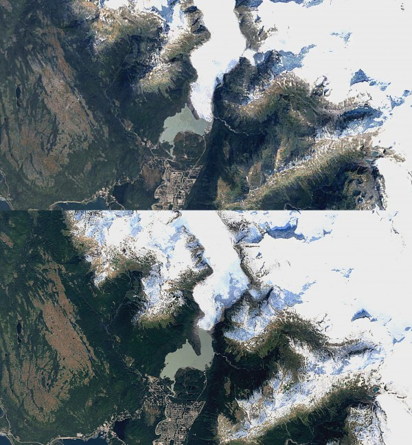 Alaska's Mendenhall Glacier in 1984 (top) and 2016